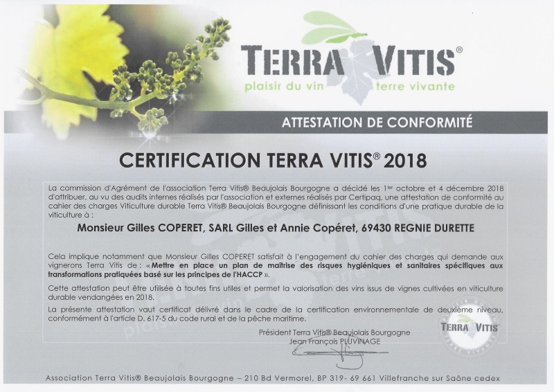 Certification Terra Vitis