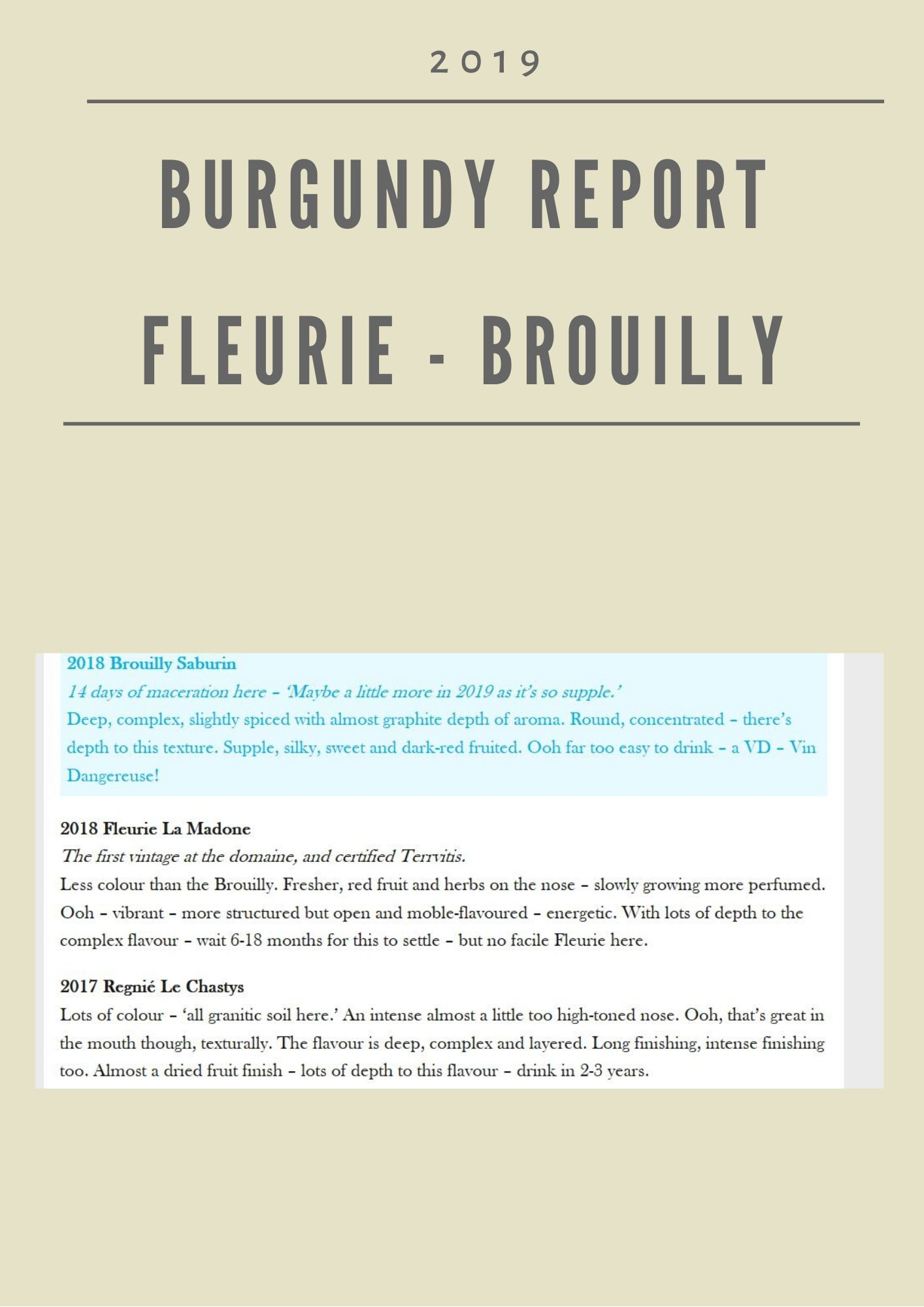 Burgundy Report - Fleurie, Brouilly & Regnié