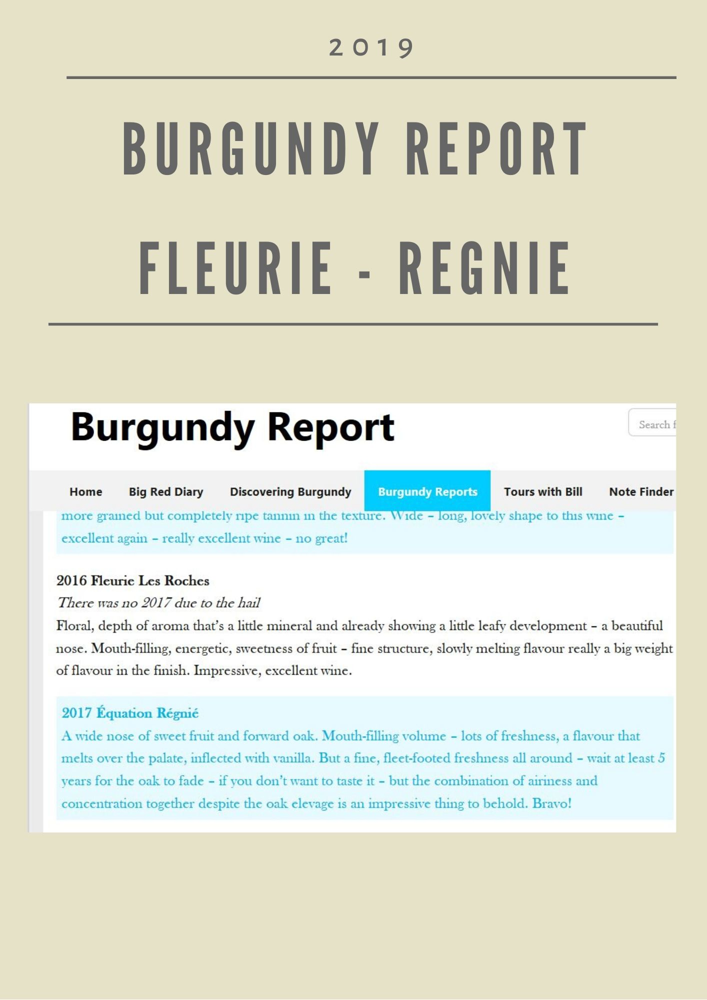 Burgundy Report - Fleurie & Regnié