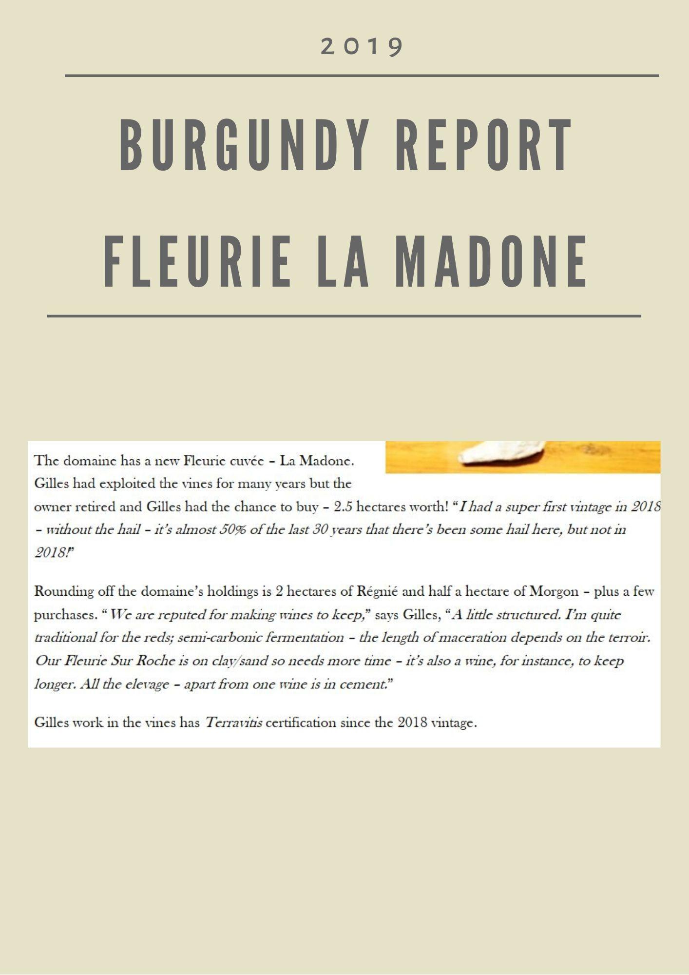 Burgundy Report - Fleurie La Madone